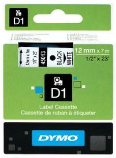 Dymo D1-merketape 12 mm Hvit