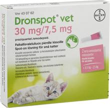Dronspot vet Spot-on, lösning för små katter 30 mg/ 7,5 mg 2 dos(er)