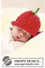 Sweet strawberry by DROPS Design - Baby Mössa Stick-mönster strl. 1/3