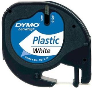 Dymo Letratag merketape av plast 12 mm Hvit