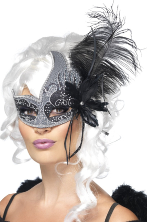 Svart Ängel Venetiansk Mask med Stora Svarta Fjädrar Vuxen One-size