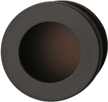 Cirkelformet skålegreb med lille kant i mørkebrun kunststof