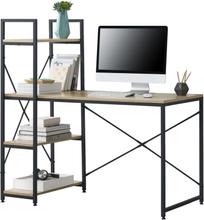 [en.casa]® Dautphetal skrivbord med hyllor-122x120x64cm-stål / spånskiva-svart-ek optik