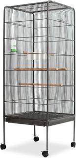 vidaXL fuglebur sort stål 54 x 54 x 146 cm