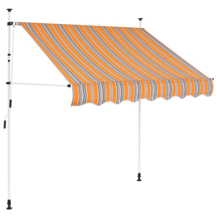 vidaXL foldemarkise manuel betjening 150 cm gul og blå striber