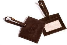 Luggage tag läder - Mörkbrun