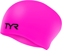 TYR Wrinkle-Free Long Hair Swimming Cap fluo pink 2019 Badehetter