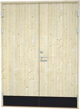 Tät förrådsdörr i obehandlat trä Obehandlad förrådsdörr 15 x 20
