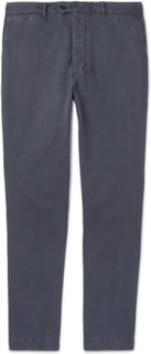 New Fisherman Slim-fit Garment-dyed Cotton And Linen-blend Chinos - Navy