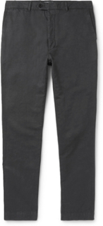 New Fisherman Slim-fit Garment-dyed Cotton And Linen-blend Chinos - Charcoal