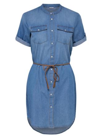 ONLY Short Sleeved Denim Dress Women Blue