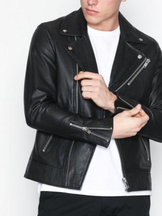 Selected Homme Shnseb Biker Leather Jkt Takit Musta