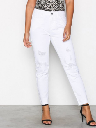 Noisy May Nmkim Nw Loose Destroy Color Jeans Hvit