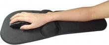 Musemåtte m. Gel Håndledsstøtte (sort stof, ekstra lang)