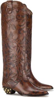 Isabel Marant knähöga western boots i brunt kalvskinn