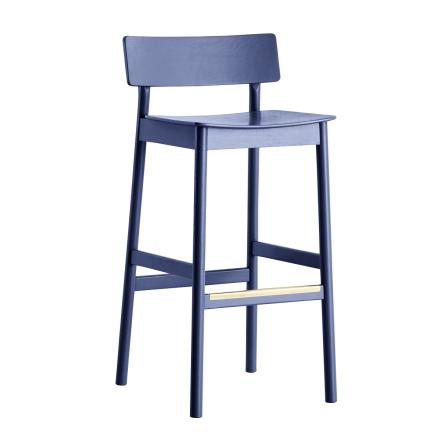 Pause barstol mørkeblå malt eik