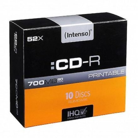 Intenso Cd-r, 700mb/80 minutter, 52 x hastighed, Printable, slank t...