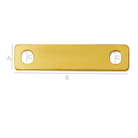 925 Silver 24K Gold - Rektangel Bar Plate (25mm)