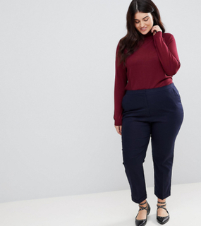 ASOS CURVE Tailored Linen Cigarette Trousers - Navy