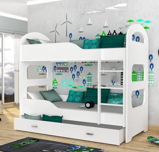 Dominik køyeseng for barn inkludert madrasser 180×80