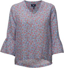 O2. Linked Floral Top Blus Långärmad Blå Gant