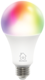 DELTACO SMART HOME RGB LED-lampa, E27, WiFI, 9W, 16milj färger, vit