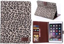 Leopard cover med kreditkortholder til iPad Mini 1/2/3. Grå.
