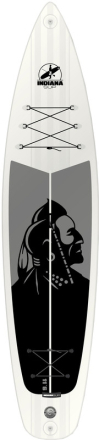 Indiana SUP Touring Basic 11'6 Board with 3 Pieces Fibre/Plastic Paddle grå/hvid 2018 SUP boards