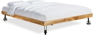 vidaXL Säng med memoryskummadrass grovt mangoträ 180x200 cm