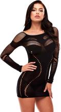 Lapdance: Long Sleeve Mini Dress, svart