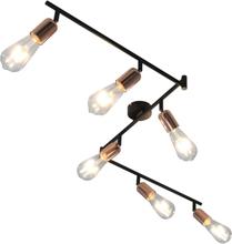 vidaXL Spotlight med 6 glödlampor 2 W svart och koppar 30 cm E27