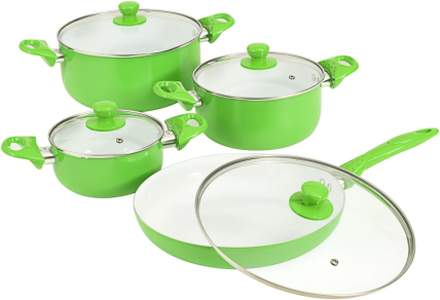 vidaXL Köksset 8 delar grön aluminium