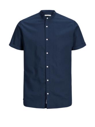 JACK & JONES Cotton-linen Short Sleeved Shirt Men Blue