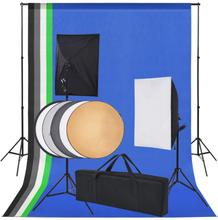 vidaXL Studioutrustning: 5 färgade bakgrunder & 2 softboxar