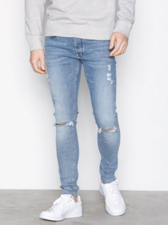 River Island Pac Man Rips Jeans Mid Blue