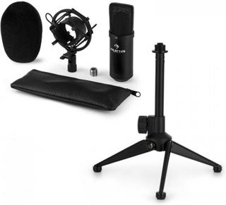 CM00B Mikrofon-Set V1 - svart studio-mikrofon med spindel & bordsstativ