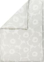 Marimekko Unikko Satin pussilakana 150 x 210 cm, valkoinen-vaaleanharmaa