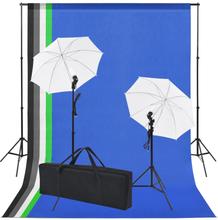 vidaXL Studioutrustning: 5 färgade bakgrunder & 2 paraplyer