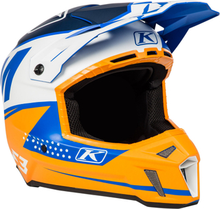 Klim F3 Bomber Orange Motocross hjälm Vit Blå Orange XL