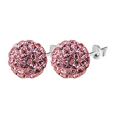 Everneed Glow Silber Stecker Strass Rosa 8 mm