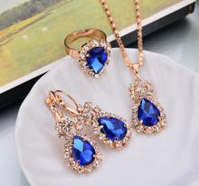Smyckeset med Austrian Crystals och i 18K Guldplätering -Blå Kristaller