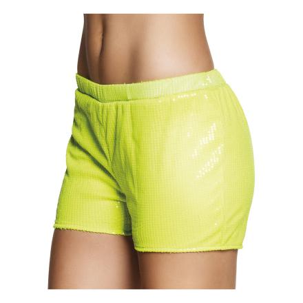 Hotpants Paljett Neongul - One size