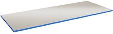 24 mm Bordsskiva i grå vinyl med blå kantlist, 800x800 mm