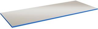 40 mm Bordsskiva i grå vinyl med blå kantlist 1500x800 mm