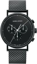 Georg Jensen Koppel 41 Mm Kronograf – Svart Urtavla/svart Mesharmband