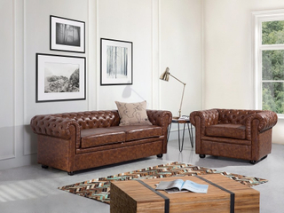 Soffa S läder guldbrun CHESTERFIELD