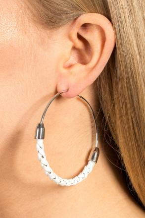 White Plait Hoop Earring