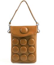 Button Bag (Brun) smarttelefon Veske m/ Bærestropp
