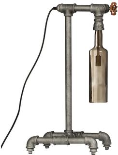 Premier industrielle gass trykk bordlampe med røkt Glass skjerm