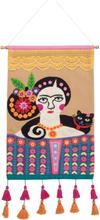 Frida Kahlo Handbroderad Väggbonad
